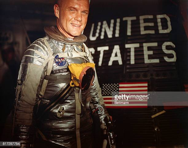 Lt Col John H Glenn Jr enters his Mercury 7 for a test
