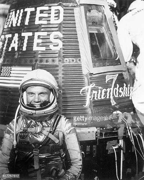 Cape Canaveral Florida Astronaut John H Glenn Jr in spacesuit beside MercuryAtlas 6 spacecraft 'Friendship 7'