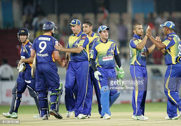 Cape Cobras celebrates the last wicket of N Wagner during the Airtel Champions League Twenty20 Group C match between the Cape Cobras and Otago Volts...