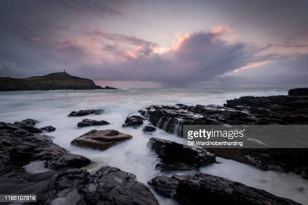 cape cornwall, as seen from kenidjack valley at sunset with stormy sky, cornwall, england, united kingdom, europe - as stock pictures, royalty-free photos & images