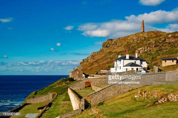 Cape cornwall headland, there used to be tin mining on the headland but only the chimney now remains to be used as an aid to navigation, In 1987 the...