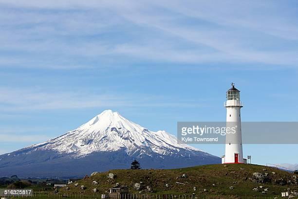 Cape Egmont lighthouse with Mount Taranaki