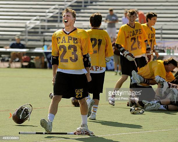 Cape Elizabeth's Cam Wilson lets out a scream after his Capers defeated Yarmouth for the Class B boys' lacrosse championship Saturday June 15 2013 at...
