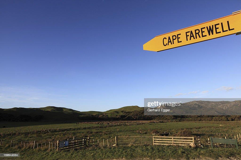 Cape Farewell sign post : Stock Photo