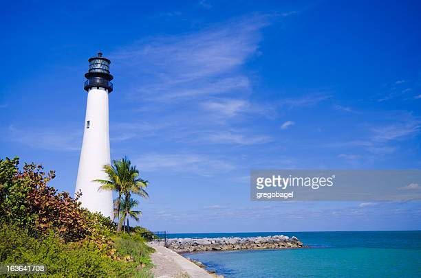 Cape Florida lighthouse at park in key Biscayne Summer