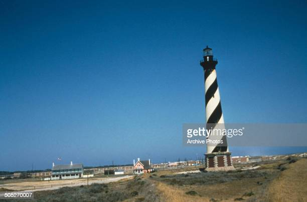 Cape Hatteras Light a lighthouse on Hatteras Island in the town of Buxton North Carolina USA circa 1965