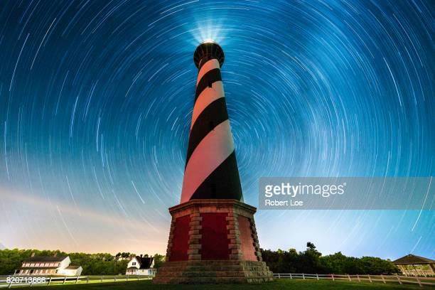cape hatteras light house star trails - cape hatteras stock pictures, royalty-free photos & images