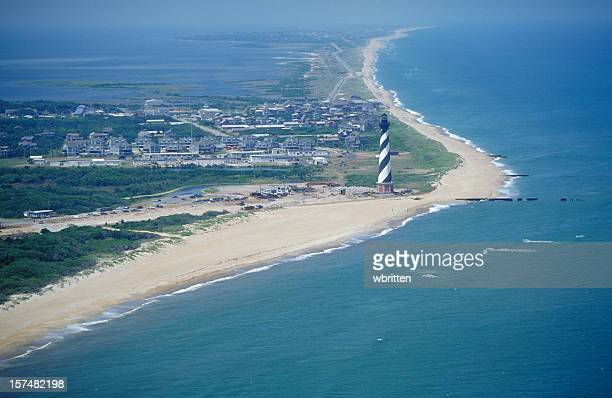 cape hatteras lighthouse from the air - cape hatteras stock pictures, royalty-free photos & images
