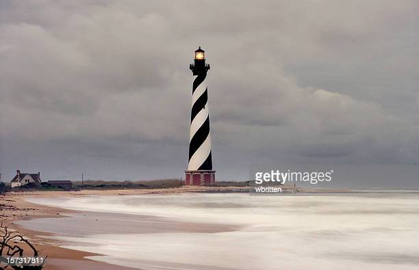 cape hatteras lighthouse in storm - cape hatteras stock pictures, royalty-free photos & images
