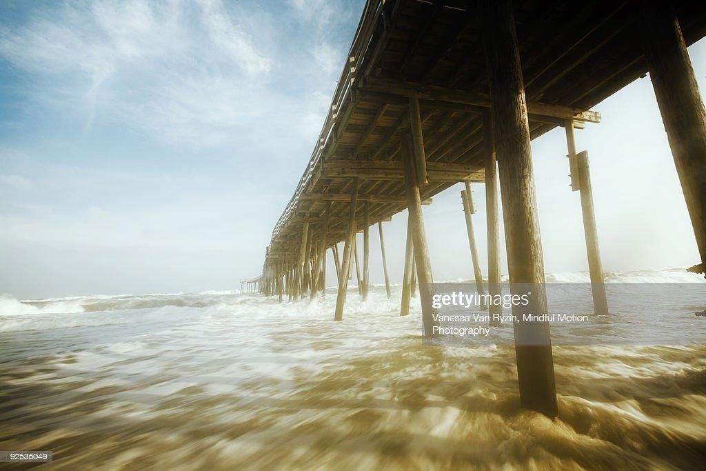 Cape Hatteras North Carolina Beach and Pier : Stock Photo