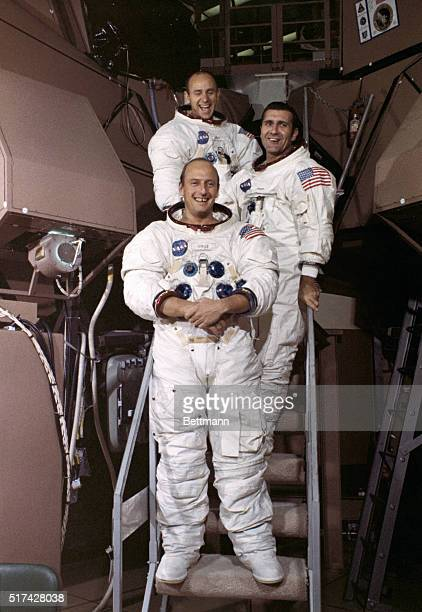 Cape Kennedy FL ORIGINAL CAPTION READS Apollo 12 astronauts Charles Conrad commander Richard Gordon command module pilot and Alan Bean lunar module...