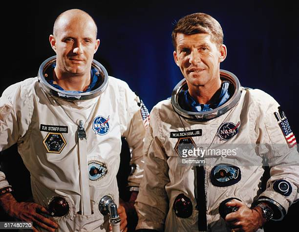 Cape Kennedy Florida Gemini 6 astronauts Walter Schirra and Tom Stafford who will attempt to execute a rendezvous in space with Gemini 7 astronauts...