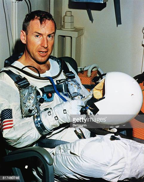 Cape Kennedy Florida Gemini 7 astronaut James A Lovell Jr wears the new lightweight space suit planned for use during the upcoming 14 day Gemini 7...