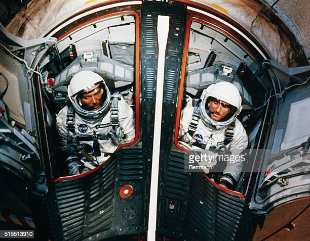 Cape Kennedy FloridaAstronauts Walter Schirra and Tom Stafford in their Gemini 6 spacecraft during training for upcoming orbital flight