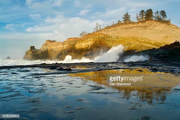 cape kiwanda at low-tide reflection, oregon, usa - dan sherwood photography stock pictures, royalty-free photos & images