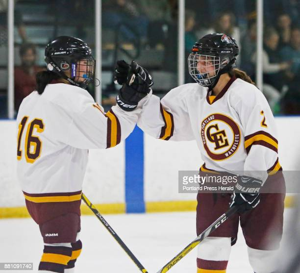 Cape Koto Yamada and Nicoletta Coupe celebrate Coupes goal in the second period at Cape Elizabeth/South Portland/Waynflete High Schools vs...