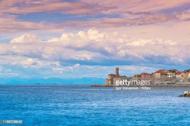 cape madona in old town of piran in slovenia - madona stock photos and pictures