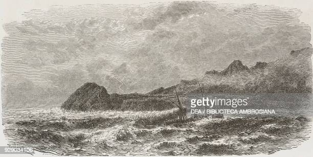 Cape Matapan, Greece, drawing by Theodor Alexander Weber from a sketch by Belle, Voyage in Greece, 1861-1868-1874, by Henri Belle, from Il Giro del...