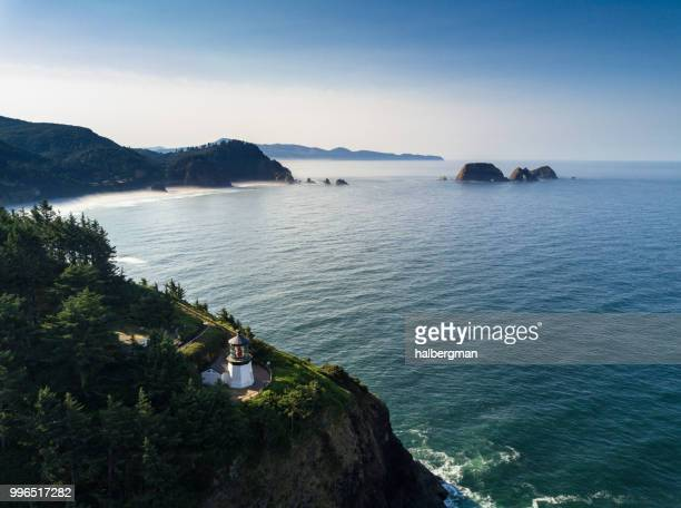 Cape Meares Lighthouse and Tillamook Bay - Aerial View