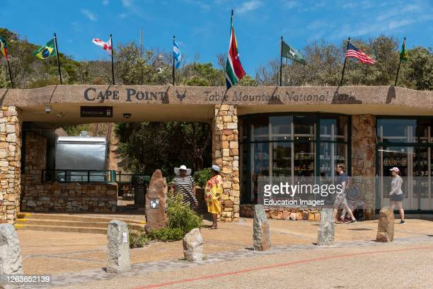 Cape Point, Western Cape, South Africa, The funicular station, shops and visitors at Cape Point in the Table Mountain National Park. .