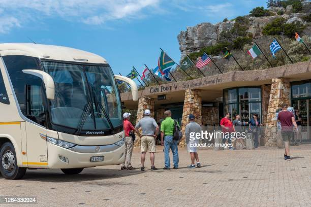 Cape Point, Western Cape, South Africa, Tour buses and visitors at Cape Point in the Table Mountain National Park.