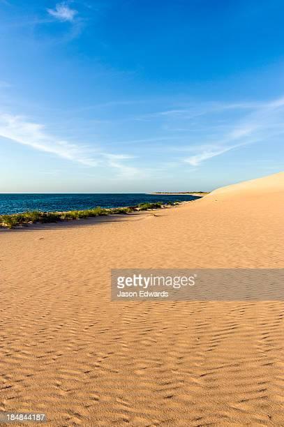 Sweeping coastal desert sand dunes flow into tropical seas at sunset.