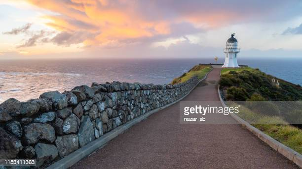 cape reinga lighthouse. - northland new zealand stock pictures, royalty-free photos & images
