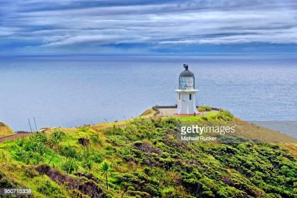 Cape Reinga lighthouse, Tasman Sea on the left and Pacific Ocean on the right, Cape Reinga, North Island, New Zealand
