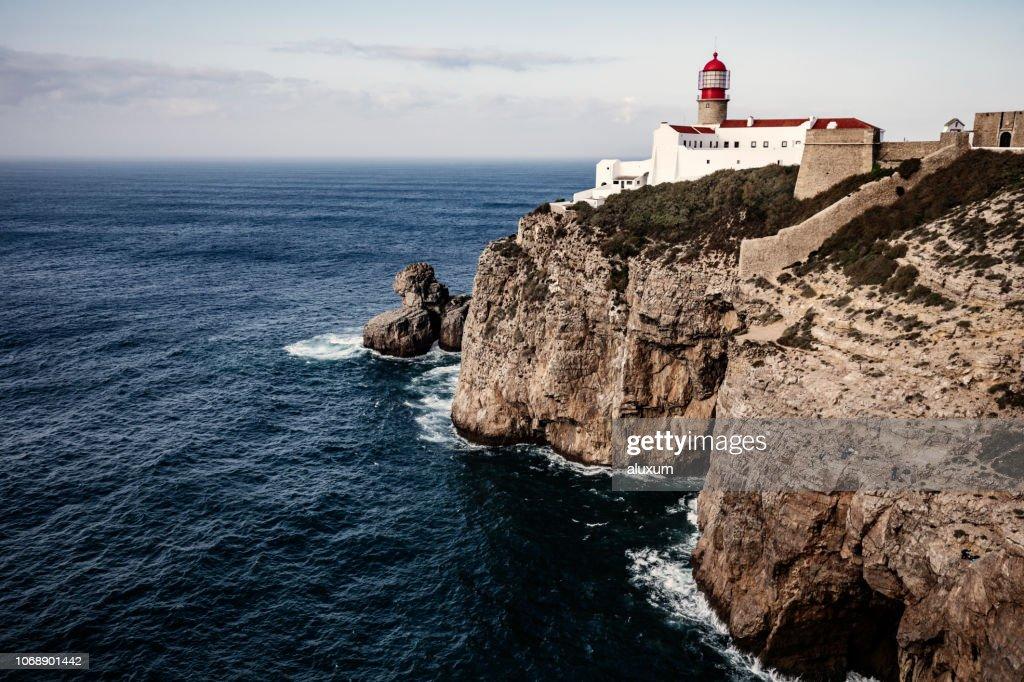アルガルヴェ ポルトガル サンビセンテ岬灯台 : ストックフォト