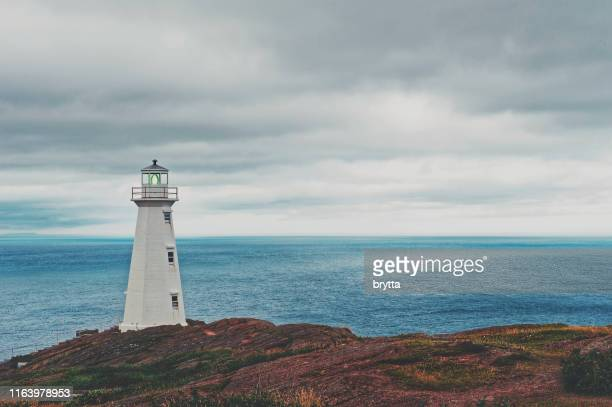 cape spear lighthouse,avalon peninsula, newfoundland,canada - st. john's newfoundland stock photos and pictures