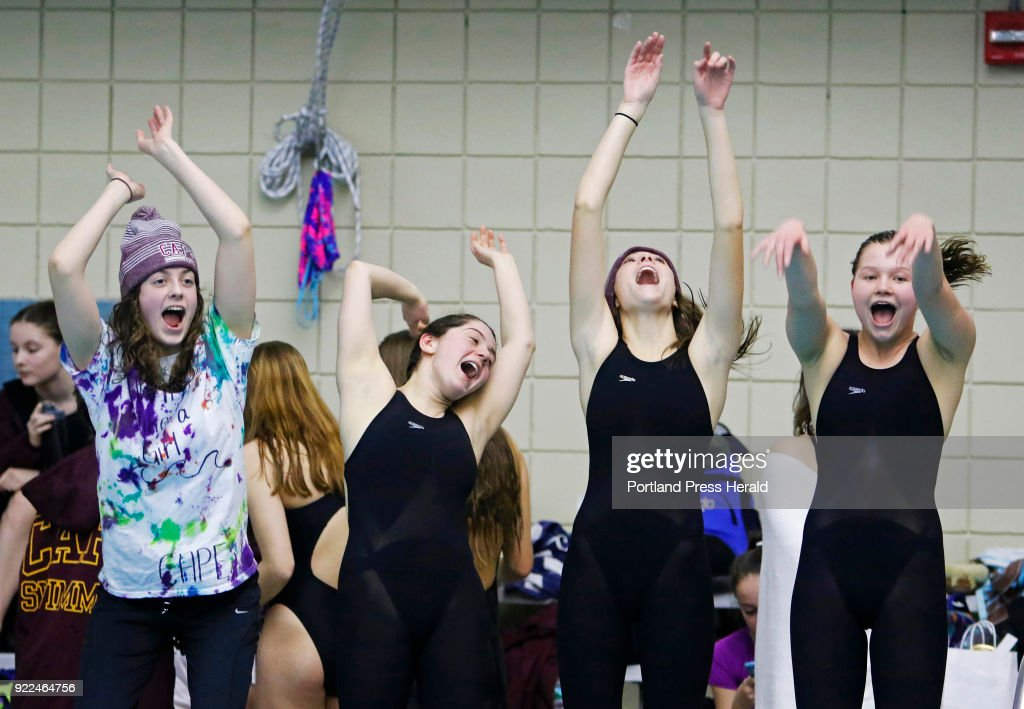 Cape teammates Olivia Tighe, Maddie McCormick, Corinne Wight and Hope Campbell burn off some excitement early in the Maine HIgh School Girls Class B State Swimming and Diving Championships at Bowdoin College.