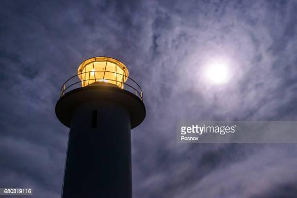 Cape Tourville Lighthouse and the moon, Freycinet National Park, Tasmania