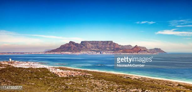 cape town and table mountain aerial panoramic view from bloubergstrand coast - table mountain stock pictures, royalty-free photos & images