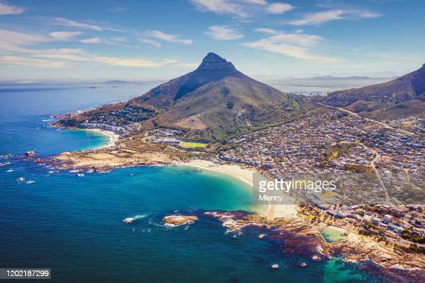 cape town camps bay clifton scenic aerial view south africa - cape town stock pictures, royalty-free photos & images