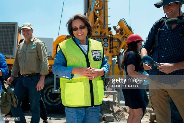 Cape Town City Mayor Patricia de Lille talks to media at a site where the city council has ordered drilling into the aquifer to tap water in...