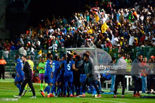 Cape Town City's players and supporters celebrate their second goal during the Premier Soccer League football match between Cape Town City and...