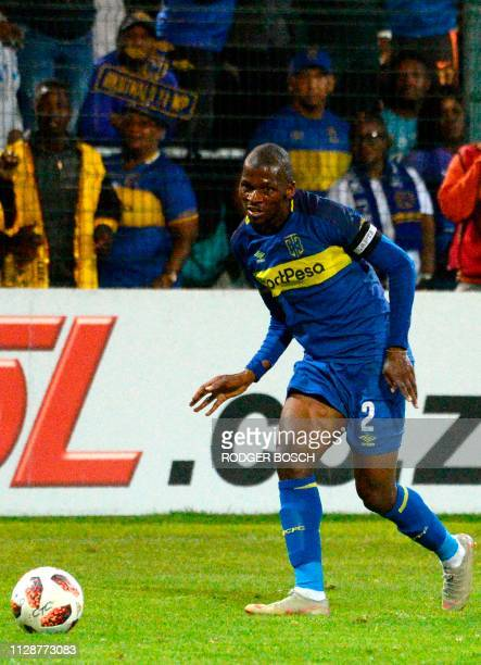 Cape Town City's Thami Mkhize runs with the ball during the Premier Soccer League football match between Cape Town City and Mamelodi Sundowns at Cape...