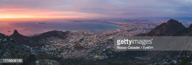 cape town cityscape from table mountain at sunset - cape town stock pictures, royalty-free photos & images