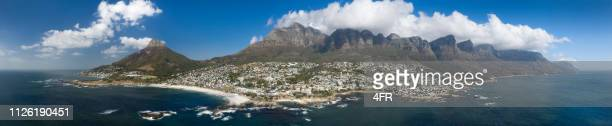 cape town panorama, camps bay, lion's head, table mountain, south africa - cape town stock pictures, royalty-free photos & images