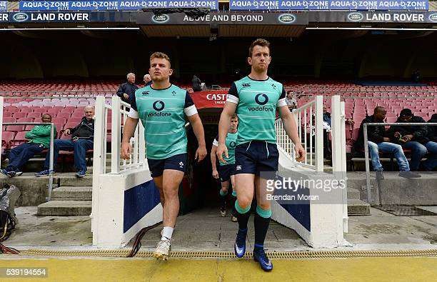 Cape Town , South Africa - 10 June 2016; Finlay Bealham, left, and Matt Healy of Ireland walk out for the captain's run in DHL Newlands Stadium, Cape...