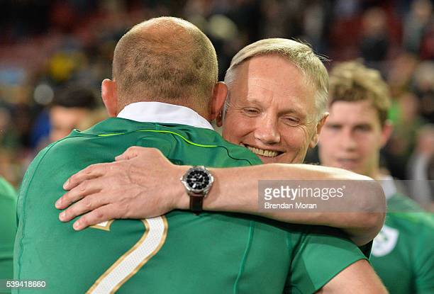 Cape Town South Africa 11 June 2016 Ireland head coach Joe Schmidt right hugs his captain Rory Best after the 1st test of the Castle Lager Incoming...