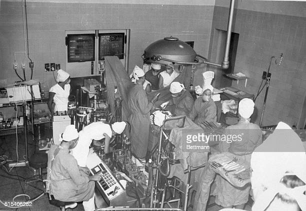 Cape Town South Africa A scene of open heart surgery being performed by Dr Christian Barnard's team at Groote Schuur Hospital in Capetown Photo filed