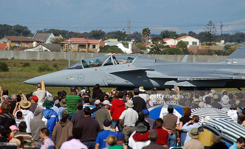 One of the Saab Gripen fighter jets, recently bought by the South African Airforce, as part of the country's controversial arms deal, sits at the Africa Aerospace and Defence airshow, at Ysterplaat Airforce Base, in Cape Town 23 September 2006.