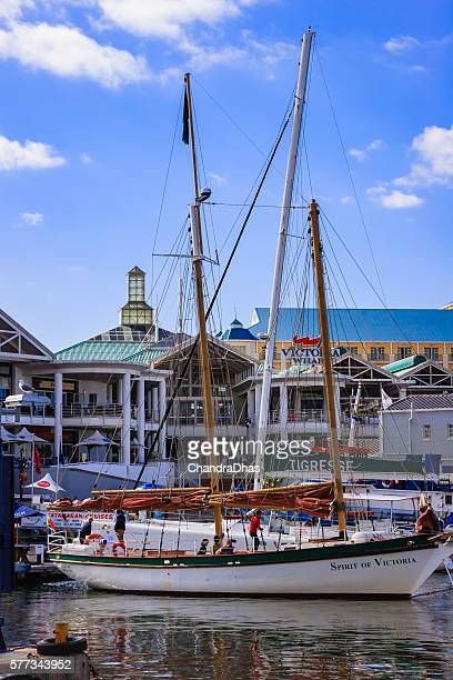 Cape Town, South Africa: small yacht docking at Victoria Wharf