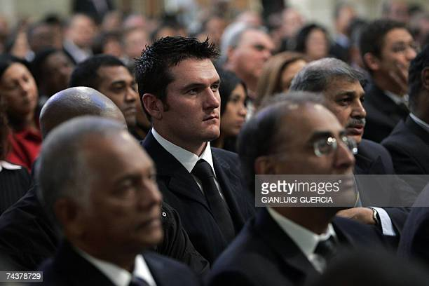 South African cricket team Captain Graeme Smith attends 02 June 2007 International Cricket Council president Percy Sonn's funeral service at St...