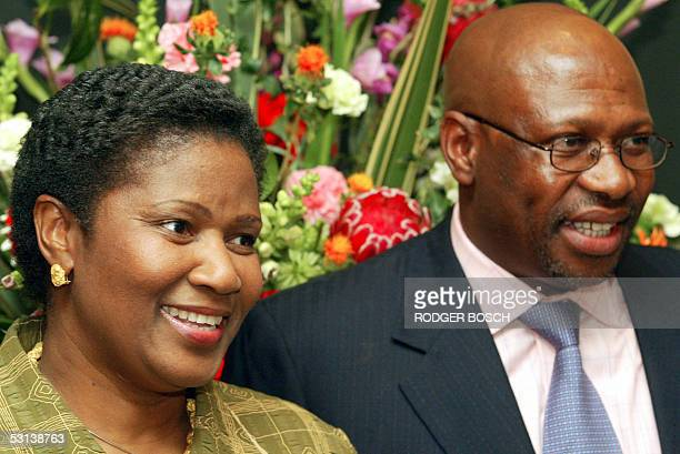 South African newly appointed DeputyPresident Phumzile MlamboNcguka and her husband Bulelani pose for the media before the swearing in ceremony at...