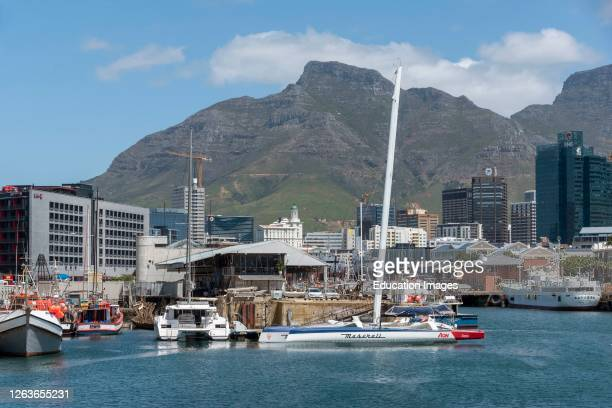 Cape Town, South Africa, The Alfred Basin area on the waterfront in Cape Town, a backdrop of Table Mountain.