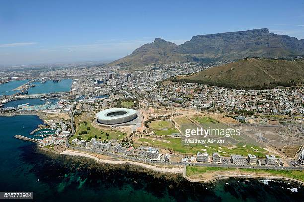 Cape Town Stadium Cape Town South Africa over looked by Table Mountain It will be one of the host stadiums for the 2010 FIFA World Cup The stadium...