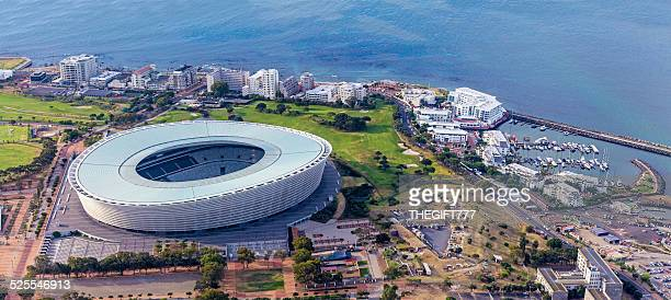 Cape Town Stadium seen from above with harbour