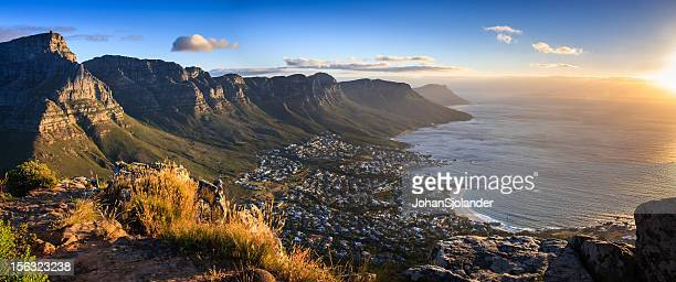 cape town sunset panorama - table mountain stock pictures, royalty-free photos & images